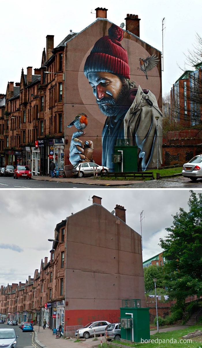 Mur photo-réaliste, Glasgow, Écosse